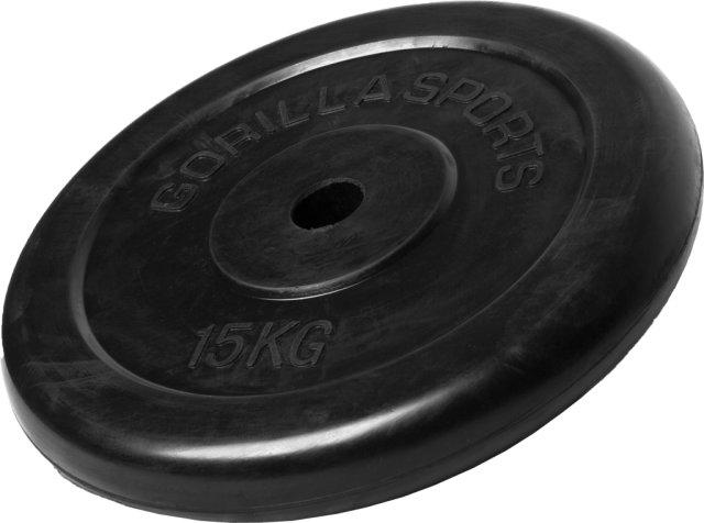 Gorilla Sports Gummibelagt Vektskive 15 kg