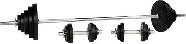 Gorilla Sports Black Rubber Barbell Vektsett 100 kg