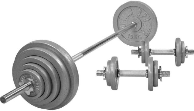 Gorilla Sports Cast Iron Barbell Vektsett 100 kg