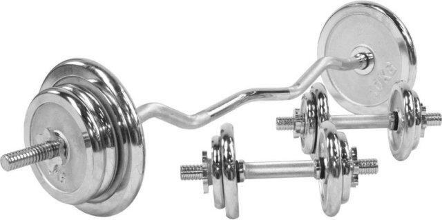 Gorilla Sports Chrome EZ Curl Vektsett 70 kg