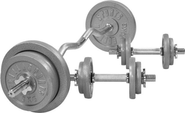 Gorilla Sports Cast Iron EZ Curl Vektsett 70 kg