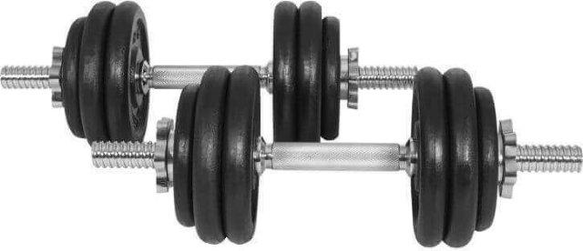Gorilla Sports Dumbbell Vektsett Helstøpte Skiver 30 kg