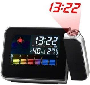 LED Projektor vekkerklokke med værstasjon / kalender