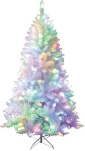 kunstig juletre hvit med multifargede lys 120 cm