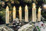 Juletrelys trådløs varmhvit med fjernkontroll 10 ledlys