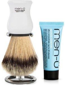 Premier Synthetic Bristle barberkost og holder