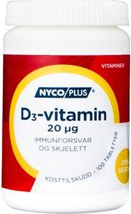 D3-vitamin 20mcg 100 tabletter