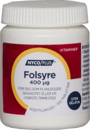 Nycoplus Folsyre 400mcg 100 tabletter
