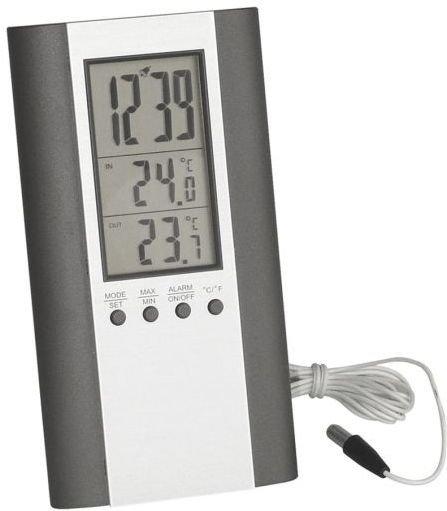 aanonsen Termometer inne/ute med vekkerklokke