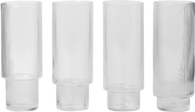 Ferm Living Ripple longdrinkglass 30cl 4 stk