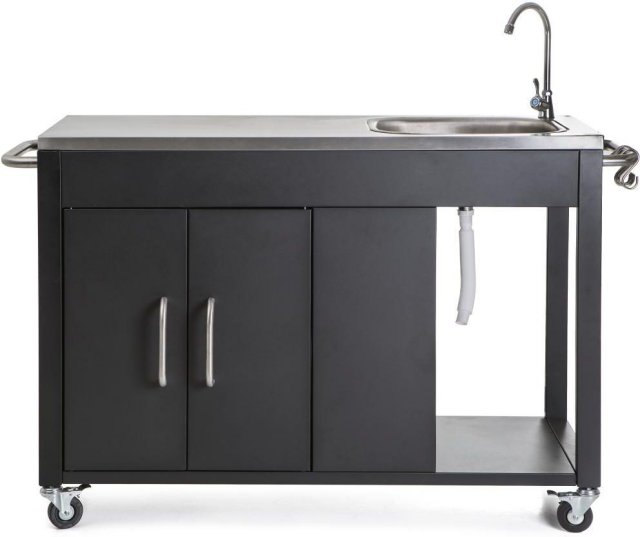 Utekjøkken med vask og skap