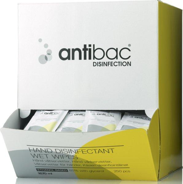 Antibac Hånddesinfeksjon Våtservietter 250 stk
