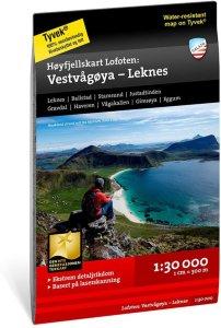 Høyfjellskart Vestvågøy - Leknes 1:30 000