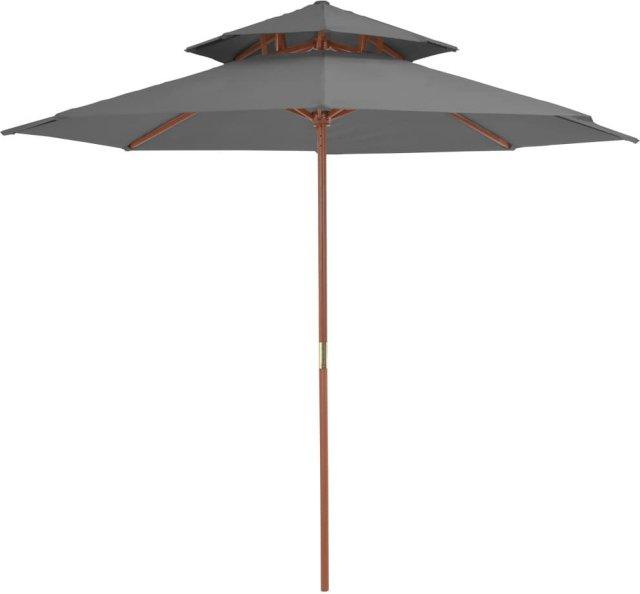 VidaXL Dobbel parasoll med trestang 270cm