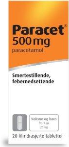 Paracet 500 mg tabletter avlange 20 stk