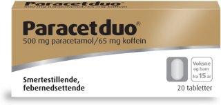 Paracetduo 500/65mg tabletter 20 stk