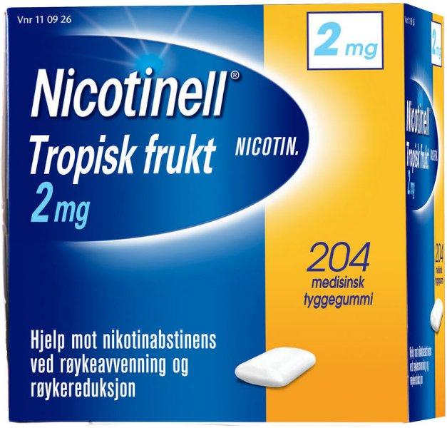 Nicotinell Tropisk frukt 2mg tyggegummi 204 stk