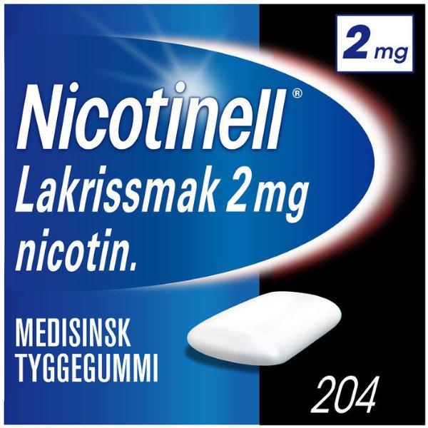 Nicotinell Lakris 2mg tyggegummi 204 stk
