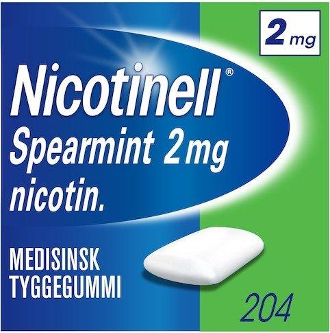 Nicotinell Spearmint 2mg tyggegummi 204 stk