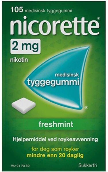 Nicorette Tyggegummi 2mg Freshmint 105 stk