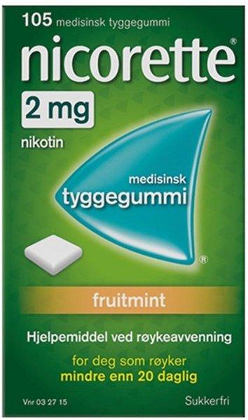 Nicorette Tyggegummi 2mg Fruitmint 105 stk