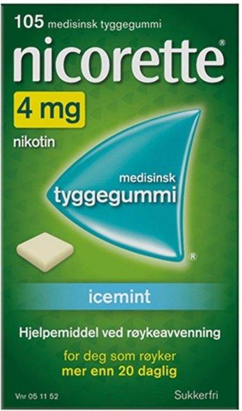 Nicorette Tyggegummi 4mg Icemint 105 stk