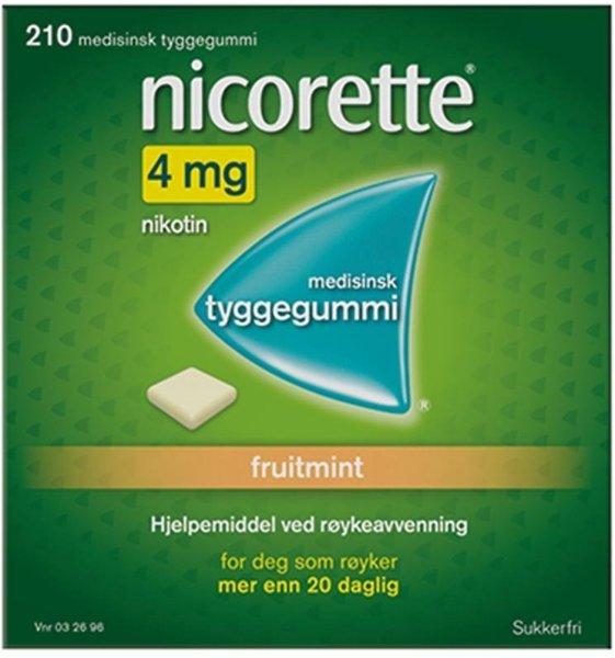 Nicorette Tyggegummi 4mg Fruitmint 210 stk