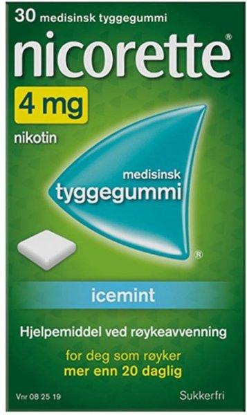 Nicorette Tyggegummi 4mg Icemint 30 stk