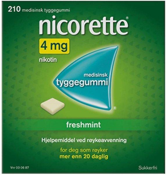 Nicorette Tyggegummi 4mg Freshmint 210 stk