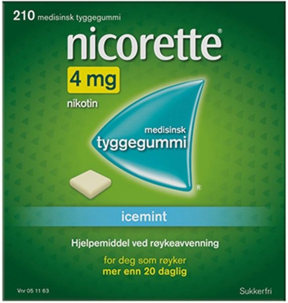 Nicorette Tyggegummi 4mg Icemint 210 stk