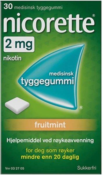 Nicorette Tyggegummi 2mg Fruitmint 30 stk