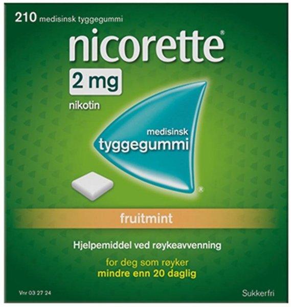 Nicorette Tyggegummi 2mg Fruitmint 210 stk