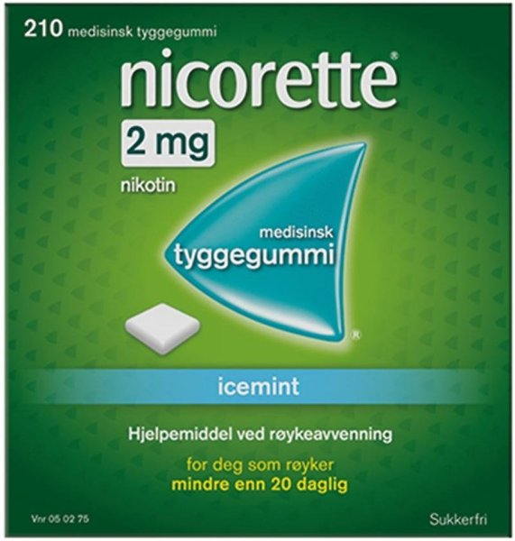 Nicorette Tyggegummi 2mg Icemint 210 stk