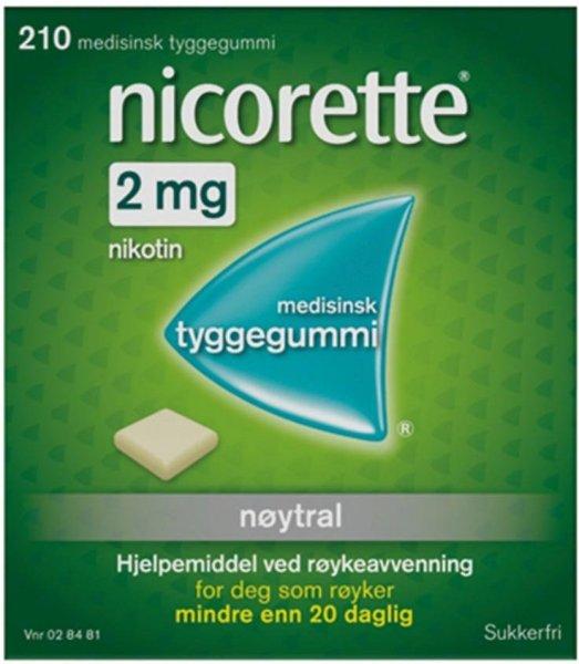 Nicorette Tyggegummi 2mg Nøytral 210 stk