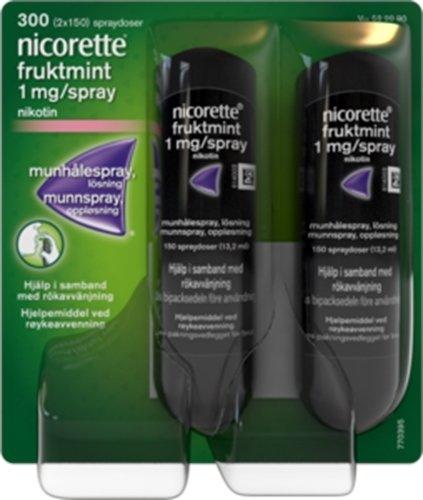 Nicorette Munnspray 1mg/dose Fruktmint 2x150 doser