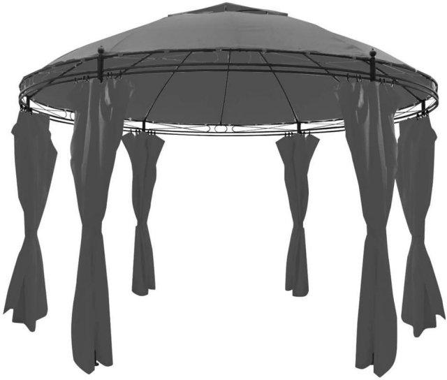 VidaXL Paviljong med gardiner rund 3,5x2,7m