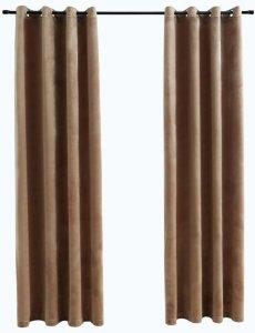 Lystette gardiner med maljer fløyel 140x175cm 2 stk