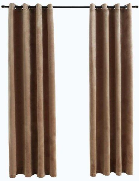 VidaXL Lystette gardiner med metallringer fløyel 140x245cm 2 stk