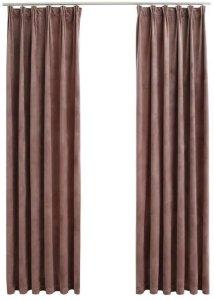 Lystette gardiner med kroker fløyel 140x175cm 2 stk