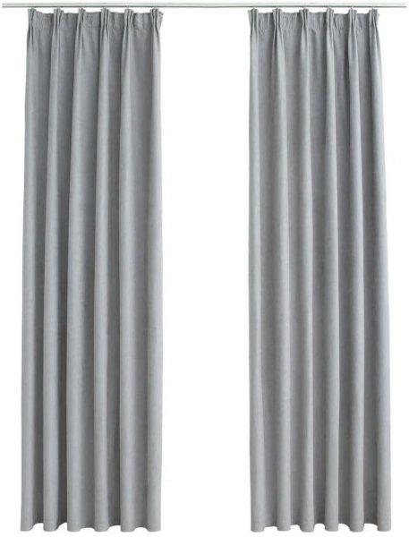 VidaXL Lystette gardiner med kroker 140x225cm 2 stk