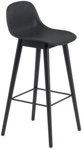 Fiber Wood barstol med ryggstøtte 65cm