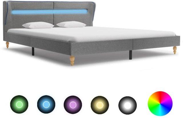 VidaXL Sengeramme med LED buede kanter 160x200cm
