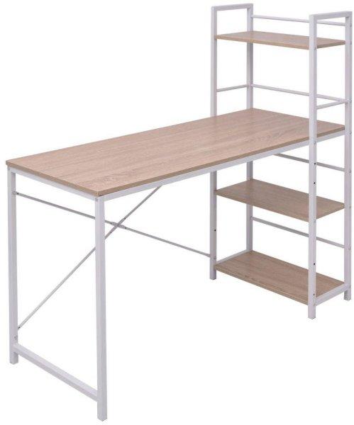 VidaXL Skrivebord med 4-hyllers bokhylle