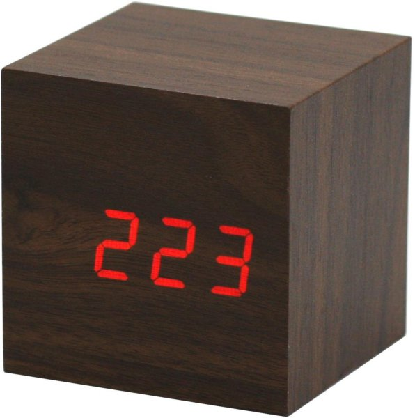 Kulz Wood Cube vekkerklokke