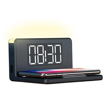 Ksix LED-vekkerklokke med trådløs lader og nattlampe