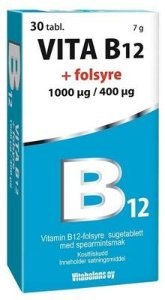 Vitabalans B12 + Folsyre 1mg/400ug 30 tabletter