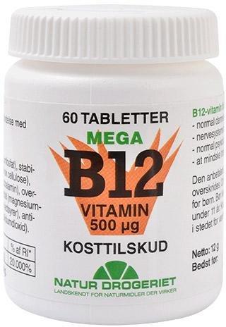 Natur Drogeriet B12 Mega Vitamin 500 mcg 60 tabletter