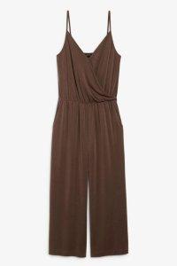 Monki Super-soft wrap jumpsuit