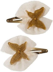 Hair Clip Set Butterfly Tulle Gold