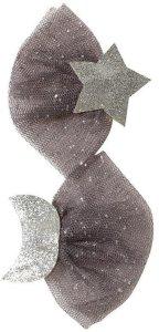 Hair Clip Set Star Moon Tulle Glitter Silver